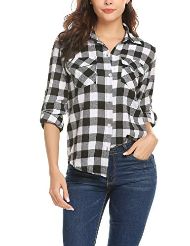 AKEWEI Black and White Long Sleeve Shirt Women Spring Holiday Work Button Front Blouse