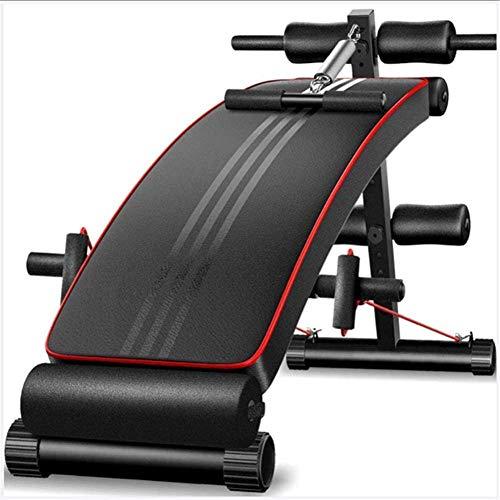 mjj Banco de fitness plegable, abdominales y abdominales, unisex, para abdominales, entrenamiento multidireccional, ajuste de diez velocidades