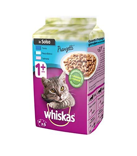 Whiskas Pranzetti in Salsa 1+ Anni 6 x 50 g, Cibo per Gatto con Tonno, Pesce Bianco e Salmone - 12 Confezioni (72 Pezzi in Totale)