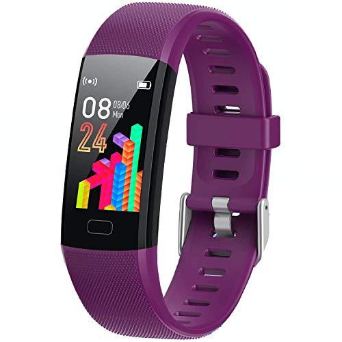 XG Glitter Fitness Tracker Watch for Kids Girls Boys Teens, Activity Tracker, Pedometer, Heart Rate Monitor, Sleep Monitor, Vibrating Alarm Clock, IP67 Waterproof Calorie Step Counter Watch (Purple)