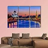 WERSD Regalo Creativo Moderno En Lienzo 3 Piezas Cuadros Decoracion Catedral Cerca del Río Moscú 3 Piezas Murales Pared XXLImprimir HD Póster