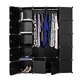 Devo Square Lattice DIY Wardrobe Portable Closet, 20 Cubes Bedroom Clothes Wardrobe for Clothing, Bags, Shoes Storage (Black)