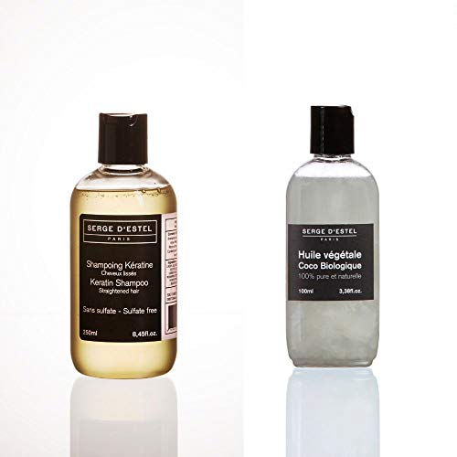 Shampoing Kératine sans Sulfate 250ml Huile de Coco Bio 100ml Soin Cheveux Lissés Lissage brésilien