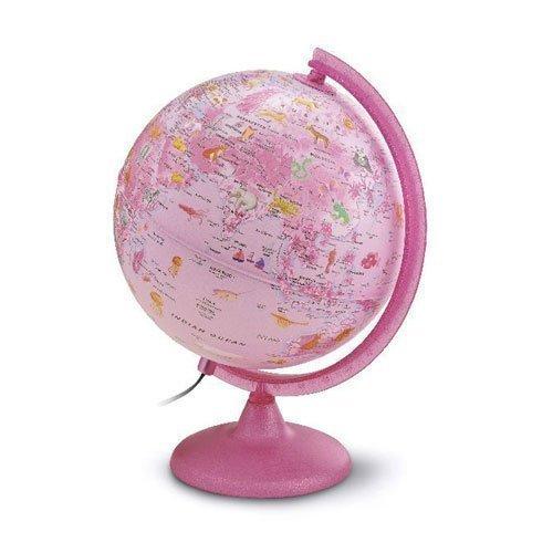 Kinderglobus pink mit Beleuchtung - Leuchtglobus 25 cm mit Motiven