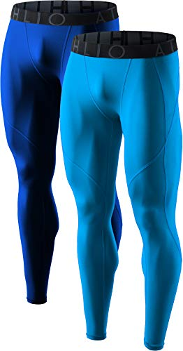 ATHLIO Mens Compression Pants Running Tights Workout Leggings, Cool Dry Technical Sports Baselayer, 2pack(blp05) - Blue/Sky, X-Large
