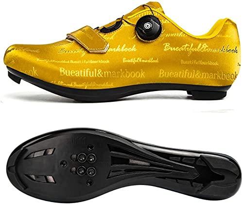 CHUIKUAJ Calzado de Ciclismo Profesional para Hombre con Candado,Calzado de Bicicleta de Carretera Al Aire Libre Que Calzado de Ciclomotor de Entrenamiento,Gold-44EU