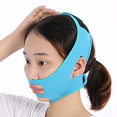 Slim Face Belt, Face Slimming Mask Slim Lift Tighten Skin Bandage Double Chin Remove Weight Loss Belt For Lifting And Firming Skin, Removing Lower Face Wrinkles, Facial Rehabilitation Blue by Antilog