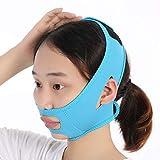 Faja adelgazante de estiramiento facial para mujeres, Reductor de mentón doble Línea en V Mejilla Levantamiento de mejillas Banda de máscara delgada Vendaje antiarrugas (Azul)