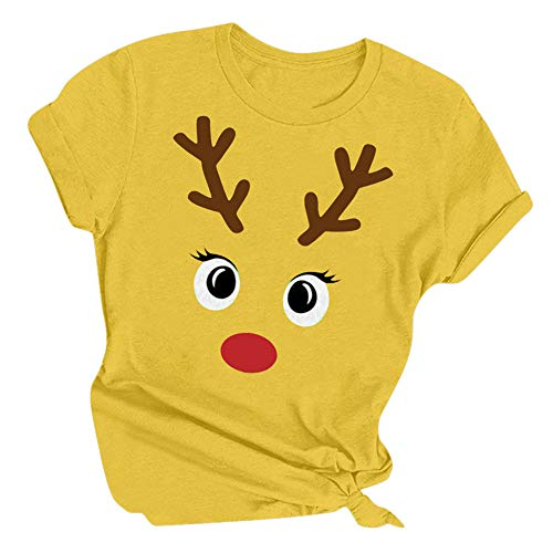 Aiserkly Camiseta de Navidad para mujer, diseño de letra de alce de reno, cuello redondo, manga corta, camiseta de Navidad, blusa para mujer, para pesadilla antes de Navidad