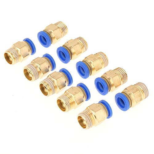 Yosoo Health Gear Conectores rápidos de Conector neumático, 10 Piezas de Accesorios neumáticos Rectos, Adaptador de Ajuste rápido a presión, Rosca de 8 mm de diámetro, Juego de 1/4 BSP