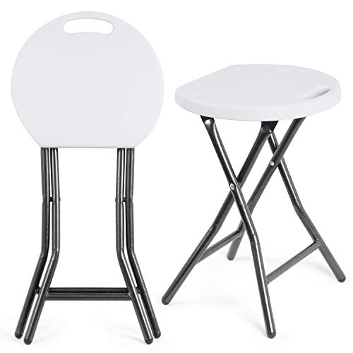 5Rcom Portable Stools Folding Lightweight Collapsible Stool 18 inch Set of 2 Plastic Foldable Fold up Round Stool for Adults with Heavy Duty Steel Frame Legs,300lbs Capacity/2 Pack,White