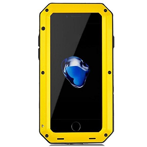iPhone 8 Plus Case iPhone 7 Plus Case, CarterLily Full Body Shockproof Dustproof Waterproof Aluminum Alloy Metal Gorilla Glass Cover Case for Apple iPhone 7 8 Plus 5.5 inch (Yellow.)