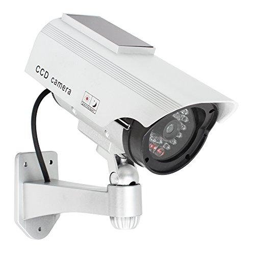 com-four® cámara ficticia para Exteriores - cámara ficticia con Soporte de Pared - cámara de Seguridad Solar con LED para la casa - cámara ficticia de vigilancia (01 Piezas)