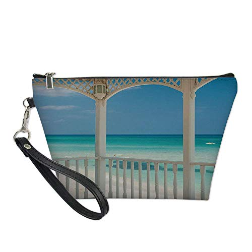 White Decor Useful Cosmetic Bag,Varadero Beach in Cuba from a Wooden Seem Terrace Image for Travel ,21.5×14.5×6.5IN