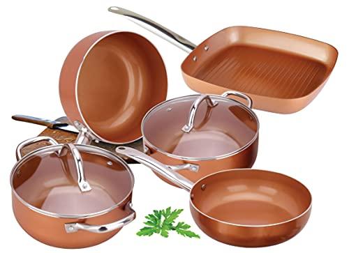 Batería de Cocina Profesional de Cobre con 7 Elementos Vital Copper. Incluye 2 cazuelas 1 satén grill, 1 sarten wok, 1 cazo de salsas y 2 tapas intercambiables Vital Copper