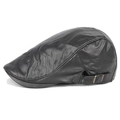 ZLSLZ Mens PU Leather Warm Ivy Newsboy Cabbie Gatsby Dad Golf Driving Hat Cap Black