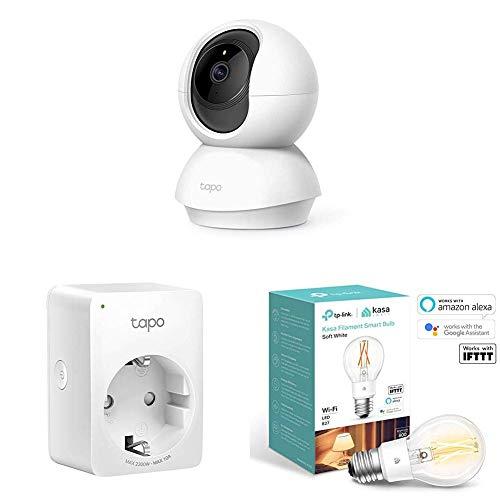 TP-Link Tapo C200 - Cámara Vigilancia, Cámara IP WiFi 1080p Full HD 114° + TP-Link Tapo P100 - Enchufe Inteligente + TP-Link - Bombilla de filamento Inteligente WiFi