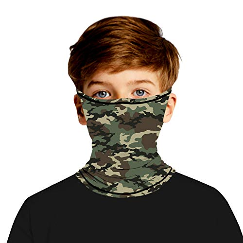Ainuno Bandana Mask for Kids,Kid Face Bandana Camo Bandana Mask Camouflage Printed Neck Gaiter Face Wrap Balaclava for Girls Boys Hiking Climbing Motorcycle with Ear Loops,Camo Size11-14 Years