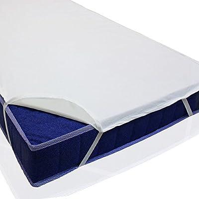 sinnlein® Protector de colchón impermeable, en 11 medidas, hecho de 100% algodón, con goma elástica en todo el perímetro parecido a una sábana bajera, absorbente por el tejido de rizo, lavable hasta 95°C