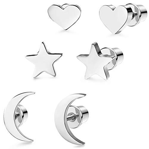 Milacolato Acero Inoxidable Pendientes de Estrella Luna y Corazón de las Mujeres Aretes Pendientes Piercing Cartilago Joyería de Moda Helix Ear Piercing, 3 Pares