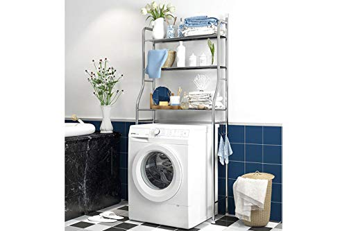Scaffale salvaspazio lavatrice bagno 3ripiani mobile silver lavanderia 155x62x25