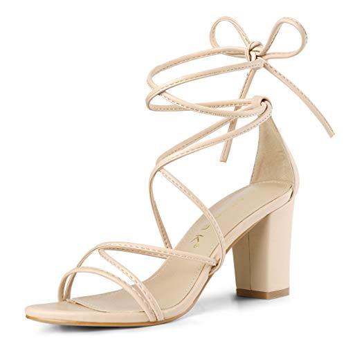 Allegra K Damen Peep Toe Kreuz Strappy Lace Up High Heels Sandalen Beige 39 EU