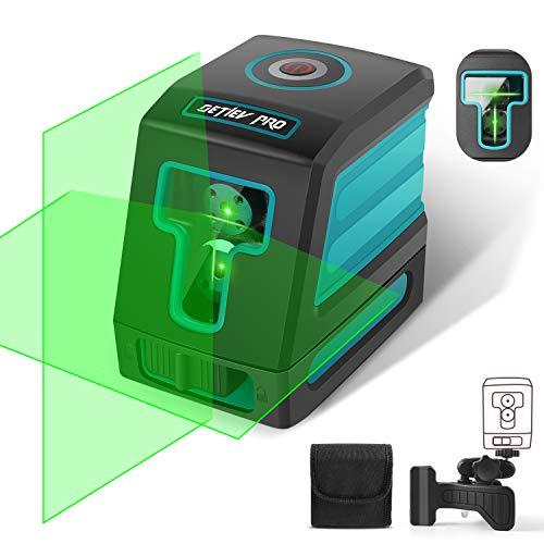 DETLEV PRO Livella Laser Verde 30m Croce Autolivellante 3 Modalità, Orizzontale Verticale a 130°, 360° Rotante Supporto Regolabile Modulo Laser Doppio IP54 T02