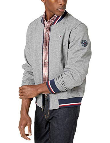 Tommy Hilfiger Men's Lightweight Varsity Rib Knit Bomber Jacket, Heather Grey soft shell, Large