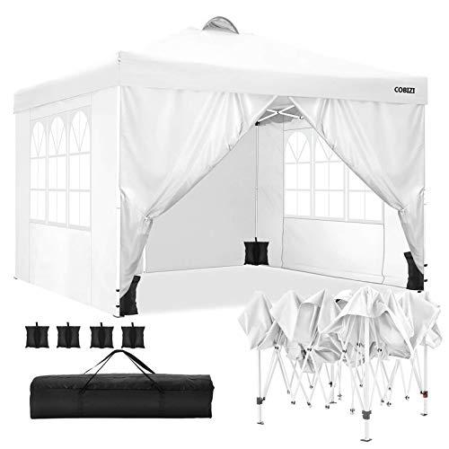 Tonnelle de Jardin 3x3 m Tonnelle Pliante Chapiteau Pliable Gazebo Pliant Tente de Reception avec Toit ventilé, 4 Sacs de Sable (Blanc)
