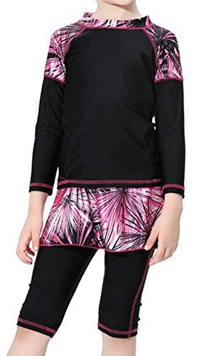 TianMai Neu Muslimische Bademode Kinder Top-Qualität Modest Badeanzug für Islamische Junge Mädchen Eltern-Kind Swimwear Muslim Swimsuit (Schwarz, 150cm)