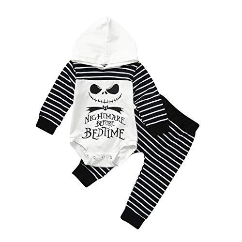 Julhold Neugeborenes Mädchen Lässige Mode Nightmare Stripe Kapuzenspielanzug Hosen...