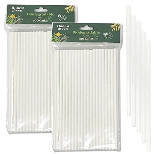 Eco Natural 200 Pajitas de Papel Desechables, 100% Ecológico, Reciclable y Biodegradable, Libre de BPA, Color Blanco