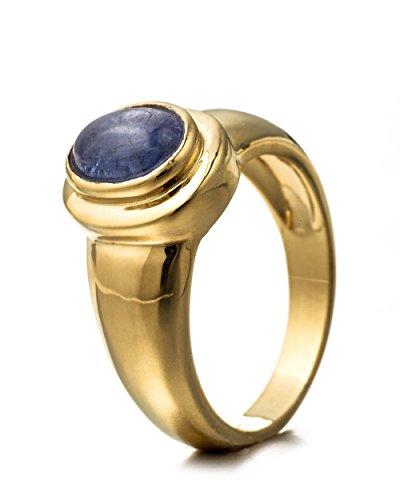 Goldancé - Anillo de mujer - plata esterlina 925 bañada en oro - auténtico piedras preciosas: Tanzanite ca. 1.52ct. - R8138TAN_SS/14K / Gr. 60 (19.1)