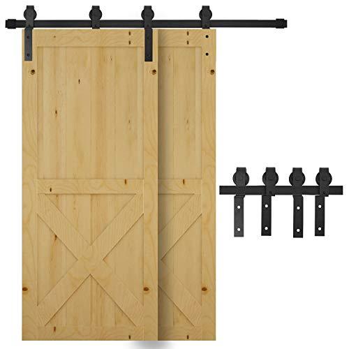 HOMCOM Juego de Herrajes para Doble Puerta Corredera Kit de Accesorios de Puerta Corrediza con Rueda Industrial Acero al Carbono Soporta hasta 90 kg Longitud de 200 cm Negro