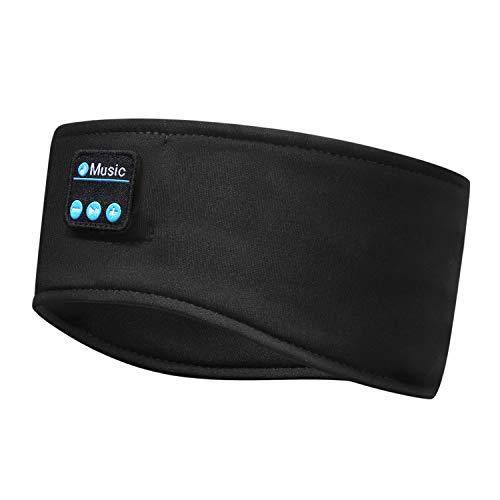 Schlafkopfhörer Bluetooth 5.0, Schlaf Strinband Kopfhörer Headband Schlafmaske, kabellose Sportskopfhörer Musik schlafen Stirnband für Sport Training, Joggen, Yoga, Schlaflosigkeit, Reisen (Schwarz)