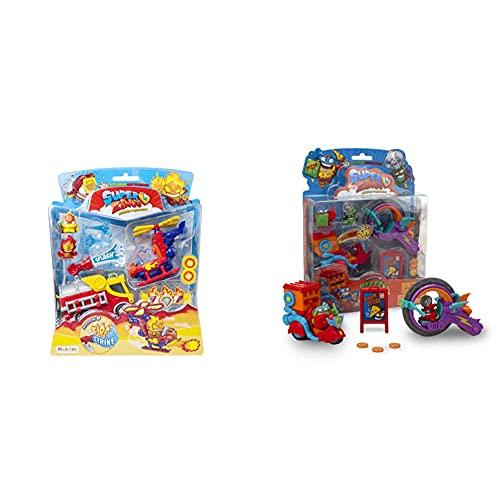 Superzings Serie 5 Blíster Mission Fire Strike, Incluye 2 Figuras Y 2 Vehículos + Serie 2 Blíster Pizza Mission con 2 Figuras Exclusivas: El Superhéroe Supperoni Y El Supervillano Circutlar
