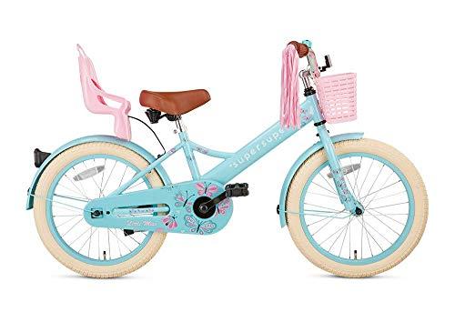 POPAL SuperSuper Little Miss Kinder Fahrrad für Kinder | Fahrrad Mädchen 18 Zoll ab 5-7 Jahre| Kinderrad met Stützrädern | Rad mit Korb und Puppensitz |Turquoise