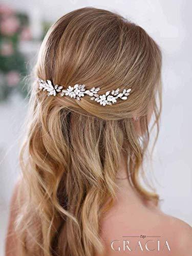 Mayelia - Fermaglio per capelli da sposa con fiore in argento, con cristalli, per acconciature da sposa e acconciature, per donne e ragazze (confezione da 3)