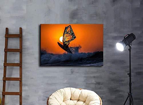 nobrand MHHSFN Wandkunst Leinwand Gemälde Wohnkultur Windsurfen Sonnenuntergang Himmel Meer Wellen Poster Wohnzimmer Drucke Surfen Bilder Hotel-50x70cm ohne Rahmen