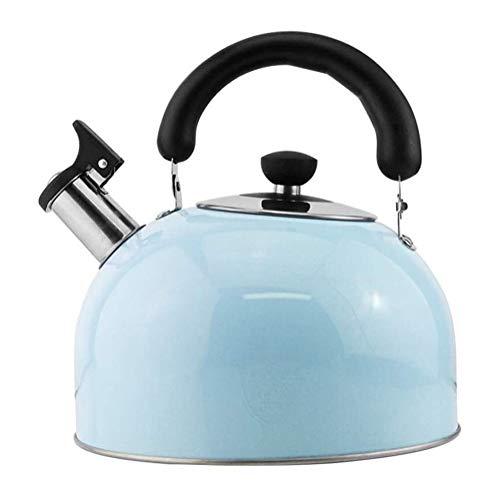 GJX Hervidor de Agua con Silbato Silbido Caramelo de la Caldera de té de la Tetera de Acero Inoxidable Estufa de Gas Cocina de inducción Universal, Hervidor (Color : Blue, Size : 4l)