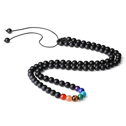 COAI Collar Ajustable de Ónice Mate con 7 Chakras