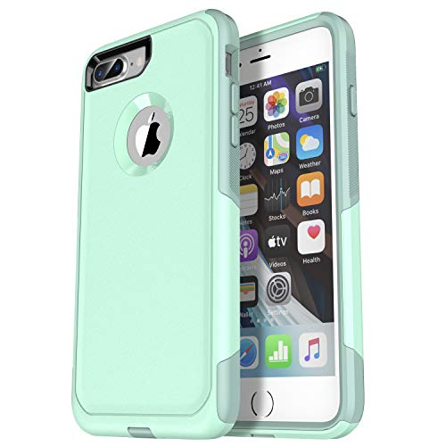 Krichit Pioneer Series Compatible with iPhone 8 Plus case/iPhone 7 Plus case Dual Layer Design,Military Grade Drop Protection Protection Case, Pioneer Series Phone Case (Aqua)