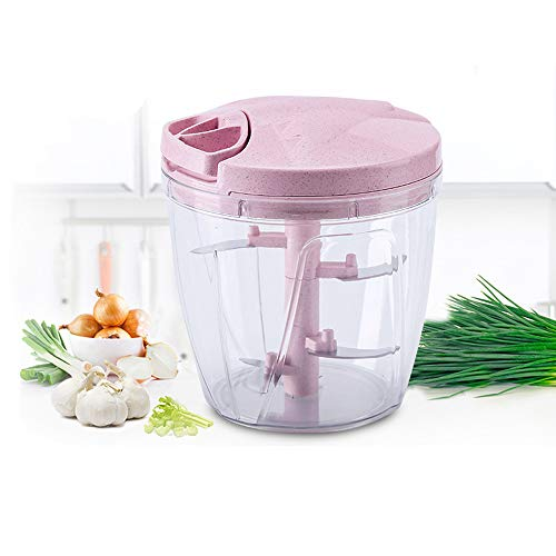 SUNSHIN 900 ml manuelle Küchenmaschine mit fünf scharfen Edelstahlklingen, Gemüsepressmaschine, Knoblauchpresse und multifunktionaler Fleischwolf