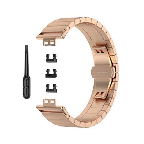 Leiouser - Correa de repuesto de metal y acero inoxidable para reloj inteligente con herramienta compatible con Huawei Watch Fit Vivid AMOLED de 1,6 pulgadas