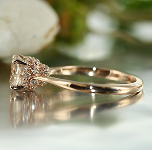 Amazon Com Simple Love Vs Diamond Round Morganite In 14k Rose Gold Morganite And Diamond Engagement Ring Unique Morganite Ring Bridal Set Available Handmade