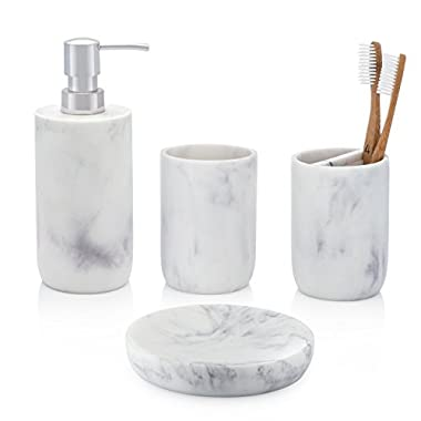 Ideal Bath 4-Piece White Bathroom Accessory Set. Complete Set Includes: Soap/Lotion Dispenser, Toothbrush Holder, Tumbler, and Soap Dish
