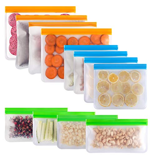Reusable Sandwich Bag McoMce 12 Pack Freezer Bags4 Reusable Gallon Bags 4 Sandwich Bag 4 Reusable Snack Bags Silicone Reusable Ziplock Bags for Food Marinate Meat Fruit Cereal 3 Sizes