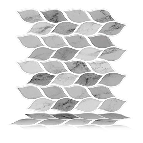 Tic Tac Tiles 25cm x 25cm 6-Sheet Peel and Stick Self Adhesive 3D Tile Wall Sticker for Kitchen Backsplash and Bathroom Foglia Grau