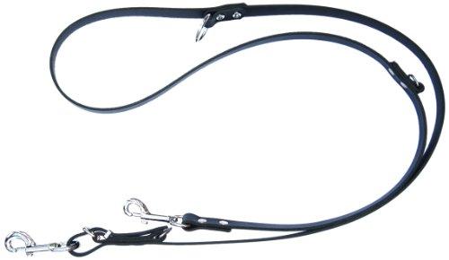 Heim 6412898D Vorführleine aus Leder, 3-fach verstellbar, 20 mm breit, 220 cm lang, schwarz