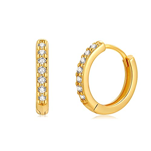 TIZU Orecchini Cerchio Oro in Argento Sterling 925 con Zirconi Orecchini Anallergici per Donna Bambina Regalo per Ragazze